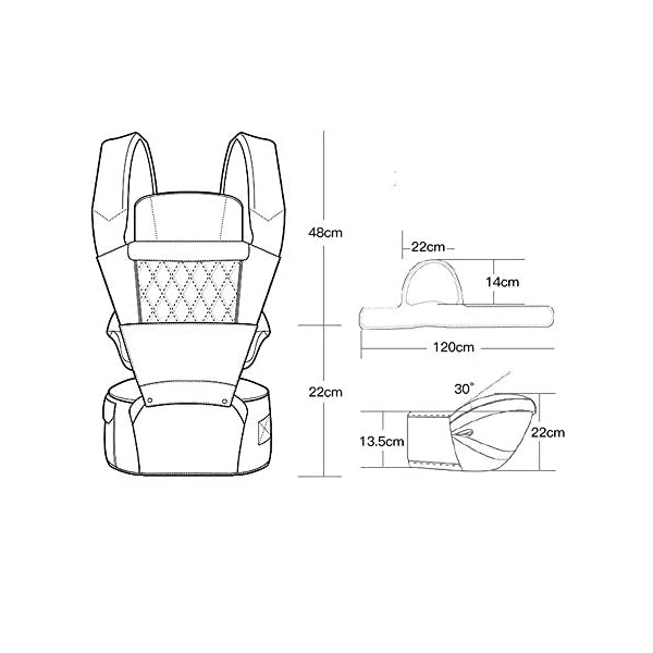 KOIUJ Seat Ergonomic 3D Baby Carrier 2 in 1 Soft Baby Hipseat Wrap Carrier Front and Back for Outdoor Travel Waist Stool for Women Men Newborn Baby Infant (Gray) KOIUJ ※The soft cotton makes the baby comfortable in all positions; The baby's back has a full range of head support so the baby's head can be well protected. ※The baby carrier is made of mesh and polyester fabric so each baby can breathe. Adjustable straps and straps are suitable for every parent to use in everyday use. It will make you feel most comfortable. Suitable for 3-36 months. ※There is a pocket next to the single hip seat so that you can place daily outdoor essentials. Two baby bibs are attached to the shoulder strap for babies and parents. 3