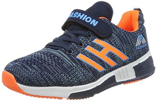 Powtech Jungen Mädchen Wanderschuhe Sportschuhe Laufschuhe Leicht Sneaker (CN32, 861-Orange blau)