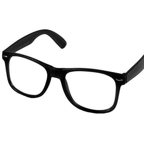 Oramics Retro Nerd Brille Klar ohne Stärke - Die neue Kollektion - Wayfarer Brillenform für Sie und Ihn - Brillenrahmen in Schwarz