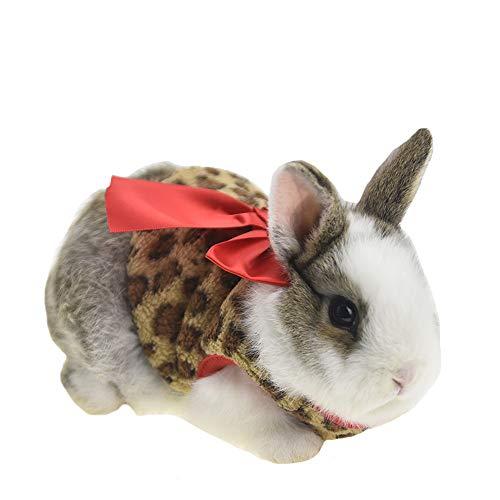 FLAdorepet Winter-Kostüm für Kaninchen, mit Leopardenschleife, für Frettchen, Kostüm, Outfits für Kleine Tiere