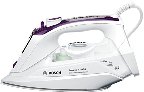 Bosch Sensixx'x DA70 SensorSecure Plancha de Vapor, 3100 W, 0.38 litros, 0.38, Cerámica, Violeta/Blanco
