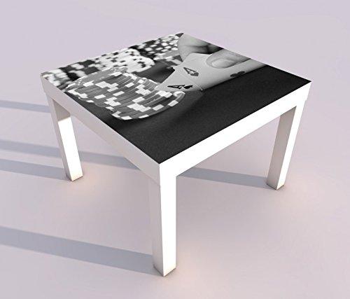 Design - Tisch mit UV Druck 55x55cm schwarz weiß Poker Spiel Casino Glück Ass Spielkarte Spieltisch Lack Tische Bild Bilder Kinderzimmer Möbel 18A702, Tisch 1:55x55cm