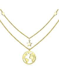 2898aadcc1aa Collar de oro con colgante de tierra para mujeres regalo para niñas plata de  ley 925