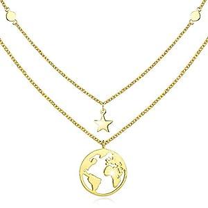 cuoka Goldkette Damen mit Weltkarten Anhänger 925 Sterling Silber Doppelkette Halskette Schmuck für Frauen Madchen Kettenlänge 18 Zoll mit Geschenkbox …