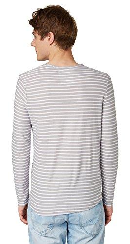 Tom Tailor Denim Striped Longsleeve Sweater, Pull Homme Gris - Grau (light mid grey 2716)