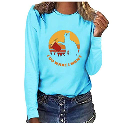 Ag&t⊙◡⊙ t-shirt da donna t-shirt casual a maniche lunghe estiva stampa gatto voglio camicie larghe per camicette da donna