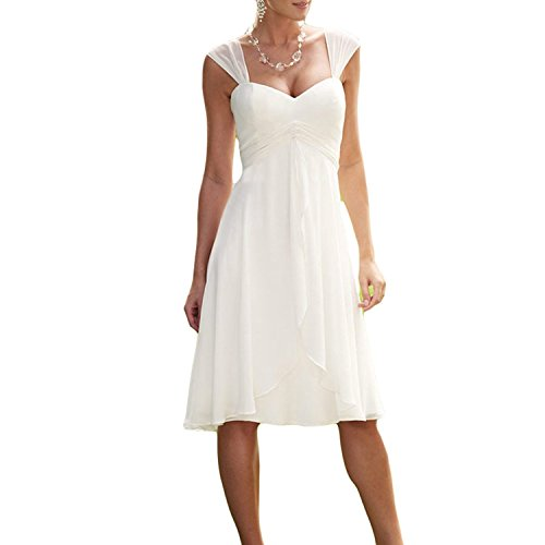 Carnivalprom Damen Chiffon Hochzeitskleid Strand Brautkleid Schatzhals Festkleid Abendkleider...