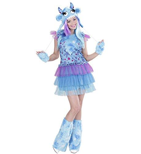 Widmann 01703 - Erwachsenenkostüm Monster Girl, Kleid, Mütze, Handschuhe und Stulpen, Gröߟe L (Kids Monster Halloween Kostüme)