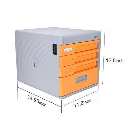 Escritorio de cajones  cajones sin ruedas  cajones de plástico con 4 cajones  Azul / Naranja / Cyan Cómoda de 4 cajones  Armedietto sin ruedas  armario de plástico  cajón de almacenamiento (Naranja)