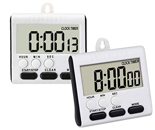 Electronic Digital Kitchen Timer Stopwatch with Large LCD Display, Memory Function, Loud Beeper, Self Standing Button Kitchen Timer