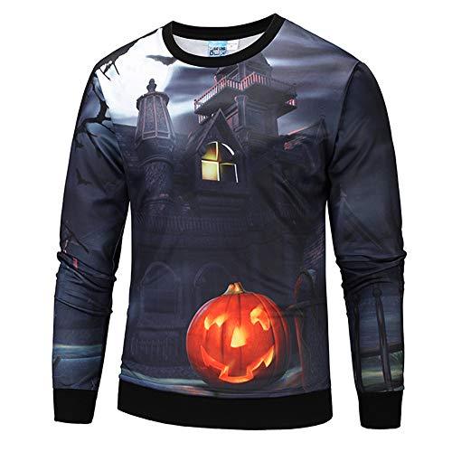 Herren Halloween Pullover,TWBB Pumpkin Schädel Gruseliges 3D Printing Sweatshirt Lange Ärmel Mantel Outwear Sweatjacke Hemd