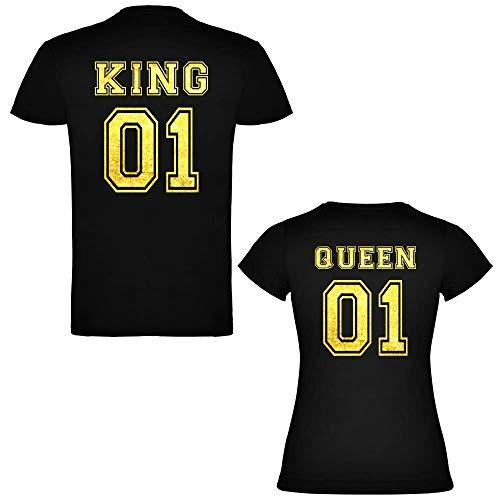 Pack de 2 Camisetas Negras para Parejas, King 01 y Queen 01 Dorado/detras (Mujer Tamaño S + Hombre Tamaño S)