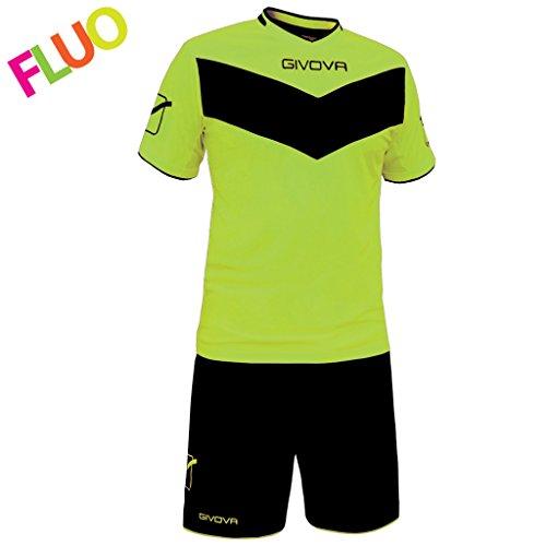 Givova, kit vittoria fluo mc, amarillo fluo/negro, M