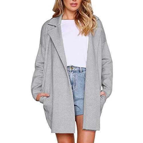 Longra Damen Winter Mantel Parka Wollmantel Langarm Jacke Strickjacke Mantel Tops Slim Fit Mode Taschen Fleecejacken Lange Trenchcoat Outwear