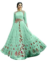 c4dc1cd571 Drashti villa Women s Heavy Embroidered Work Bridal Wedding Gown and  Anarkali (Jordar SKY BLUE Free size