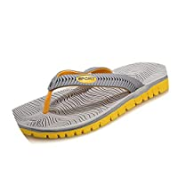 Ablaze Jin-eu mens slippers Flip Flops Sandals Rubber Casual Shoes Beach Flip Flops,GrayYellow,8.5
