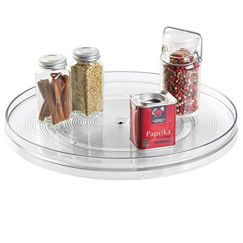 iDesign Küchen Organizer, extra großer Drehteller aus BPA-freiem Kunststoff für den Vorratsschrank, drehbarer Gewürzhalter für Vorratsdosen und Gewürze, durchsichtig - 2 Regal Lazy Susan