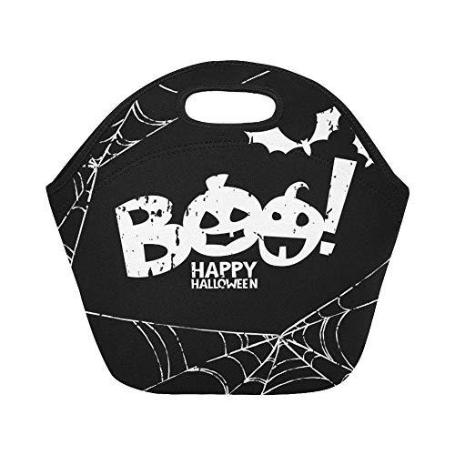 Isolierte Neopren-Lunch-Tasche Happy Halloween Design Elements Boo Große wiederverwendbare thermische dicke Lunch-Tragetaschen Für Brotdosen Für den Außenbereich, Arbeit, Büro, Schule