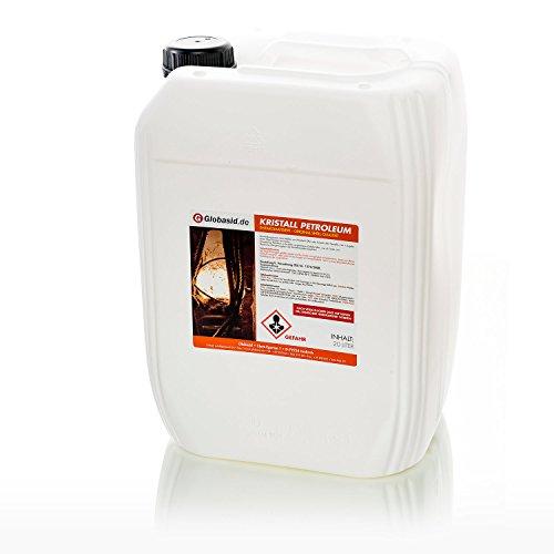 Kerosin-heizung (Globasid Petroleum 20 Liter gereinigt und geruchsneutral in original Shell-Qualität Kristall-Petroleum für Heizgeräte Ofen Öllampen oder Campingkocher)