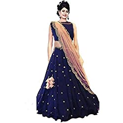 Lovisa Fashion Taffeta Silk Choli and Dupatta Embroidered Lehenga Choli, Blue