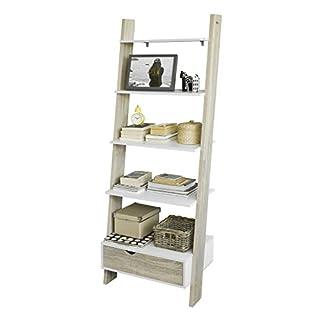 SoBuy® FRG112-WN, Ladder Shelf Wall Shelf Bookcase Storage Display Shelving Unit with 4 Shelves and Drawer