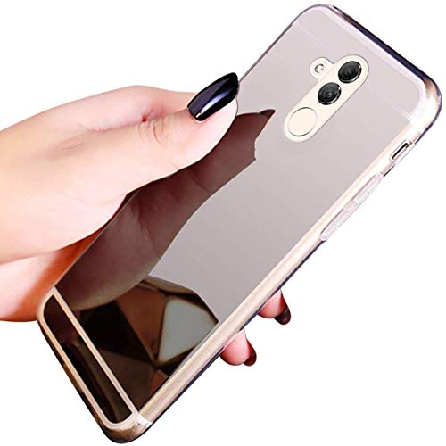 JAWSEU Kompatibel mit Huawei Mate 20 Lite Hülle,Spiegel Hülle Mirror Case TPU Silikon Hülle, Bling Strass Ultra Dünne Handyhülle Silikon Schutzhülle Tasche TPU Case Für Huawei Mate 20 Lite - Silber