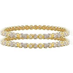 Shining Jewel Two Tone Plated American Diamond CZ Solitaire Bangles For Women (SJ_3000_L)
