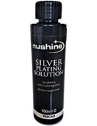 Nushine plateado solución 100ml–permanente placa plata pura en llevar plateado, latón, cobre y bronce y (respetuoso con el medio ambiente fórmula)