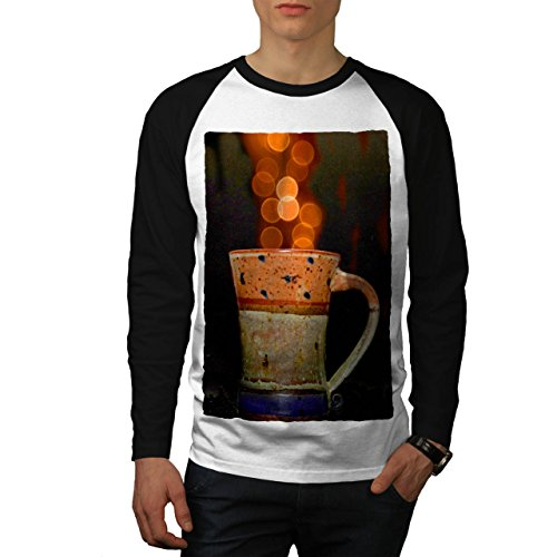 stylish-cup-of-tea-color-bubbles-men-new-white-black-sleeves-m-baseball-ls-t-shirt-wellcoda