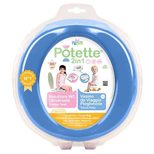 Potette Plus 2-in1- Vasino da Viaggio - Riduttore WC Portatile, Blu