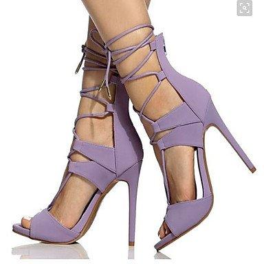 CH&TOU Da donna-Sandali-Ufficio e lavoro Formale Casual Serata e festa-Altro Cinturino alla caviglia-A stiletto-Finta pelle-Nero Viola Rosso dark purple