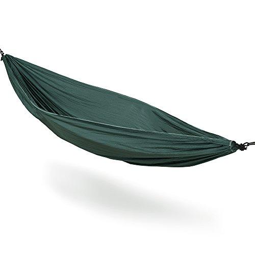 traleichte Nylon Hängematte (270x140 cm, 180 kg Traglast) Outdoor Trekking Camping in Dark Green ()