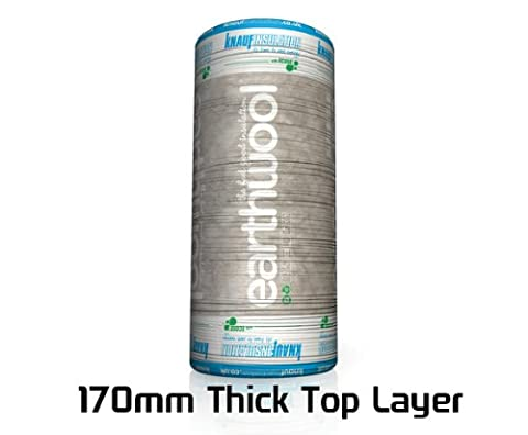 Knauf Earthwool Loft insulation roll, floor and roof lagging, 170mm thick top layer, 8.01 square meters per