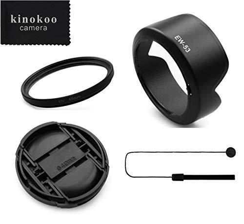 kinokoo 49mm UV Filter Kamera Objektiv Zubehör Kit Kompatibel für Canon EOS M50 / M100 / M10 / M6, 49mm umschaltbare Gegenlichtblende + 49mm Objektivdeckel + Objektivdeckel Leine (C)