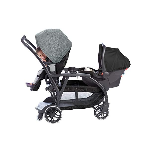 Graco Modes Duo Tandem Pushchair, Shift Graco 27 riding options for 2 children from infant to toddler; click connect attaches with all graco snug ride/essentials infant car seats. suitable from birth to 13kg (approx. 3 years) Two removable, multi-position reclining seats can be positioned rear or forward facing; the built-in bench seat gives your big kid a place to rest; both front and rear seats hold up to 15kgs One-hand standing fold, folds with seats on or off; locking front swivel wheels for superior manoeuvrability; one-step brakes make stopping, and going again, quick and easy 6