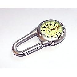 Klox Silver Clip On Carabiner Metal Fob Watch Luminous Dial Paramedic Doctor Nurse Unisex Men Women