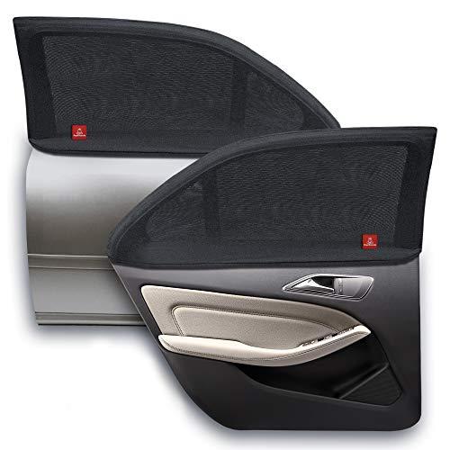 ROYAL RASCALS | Fenstersocke x2 | 40+ UV SCHUTZ gegen schädliche UV Sonnenstrahlen | 100{78881077d8615a7f7ba39a33a59d1f65eded8f772cd2011570931277174ae593} Fensterschutz | Universalgröße für alle Autos | Premium Material | Blendfrei | Auto kühlend | 40+ UV-Schutz