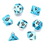 MJJEsports 7 Pcs Polyhedral Dice Set Multisided Dices Set Role Playing Games Gadget - Blue