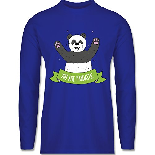 Shirtracer Statement Shirts - Süßer Panda You Are Pandastic - Herren Langarmshirt Royalblau