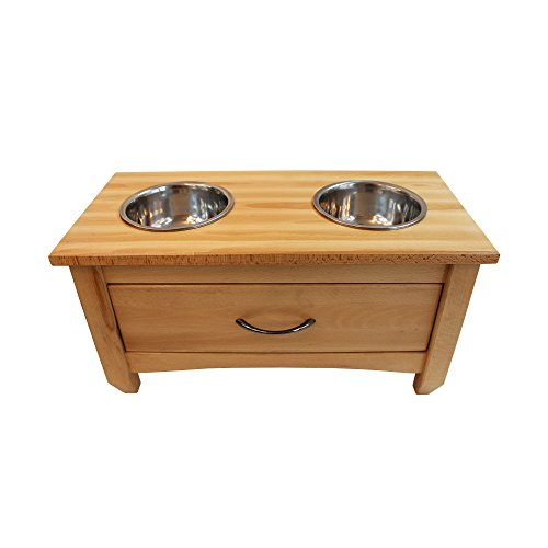 Obique Pets Collection Wooden Raised Double Bowl Feeding Station With Drawer for Storage, Natural - Large (30 cm High) -