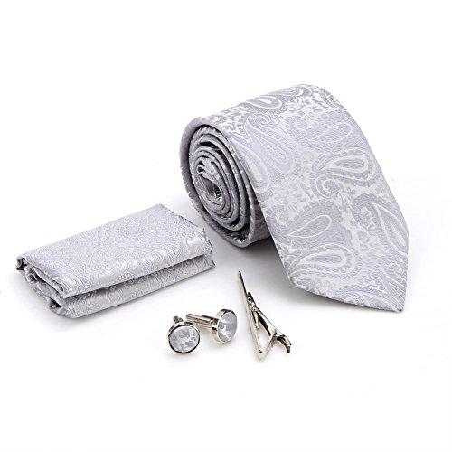 Zicac Set Cravatta di seta e poliestere per uomo , fazzoletto da taschino , gemelli , e clip lega cravatta