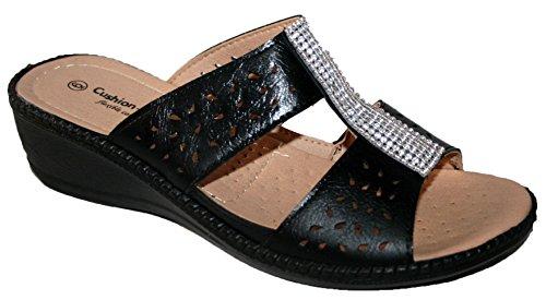 Cushion Walk Damen Peep-Toe, Schwarz - Schwarz/Strasssteine - Größe: 40 (Damen-cushion Walk)