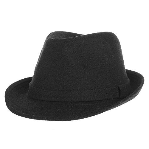 (WITHMOONS Fedora Hut Bogarthut Mafiahut Wool Felt Fedora Hat Simple Classic Monochrome Band SL6449 (Black))