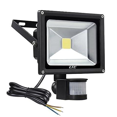 LTE 20W LED Fluter Strahler mit Bewegungsmelder, Sensor Scheinwerfer, IP65 Wasserdicht, 1500LM 6000K, AC100-240V Außenstrahler Kaltweiß Schwarz