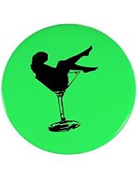 6er SET Ansteck Button - 'Partyglas' - Ø 5,6 cm - Buttons für Junggesellenabschied - Neon Grün - Ansteckbutton - Anstecker