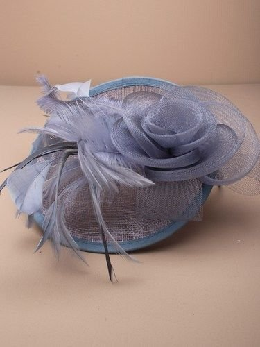 LARGE FASCINATOR HAT HAIR Flower Feather Net Alice Band WEDDINGS RACES (Grey) by Generic