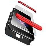 AILZH Funda movil Compatibles para Samsung Galaxy J5 2017 Carcasa+[Cristal Templado] 360 Grados Caja protección de cáscara Dura Anti-Shock Caso Mate Bumper Antichoque Case Cover(Rojo Negro)