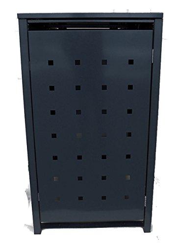 BBT@ | Solide Mülltonnenbox für 5 Tonnen je 240 Liter mit Klappdeckel in Schwarz (RAL 9005) / Ohne Stanzung / Aus robustem pulver-beschichtetem Metallblech / Versch. Farben + Blech-Stanzungen erhältlich / Mülltonnen-Verkleidung Müll-Boxen Müll-Container - 2