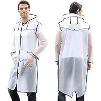 OldPAPA Rain Coats for Women, Portable EVA Rain Ponchos with Hood Stylish Transparent Raincoat Emergency Waterproof Rain Ponchos for Adults Teens Black