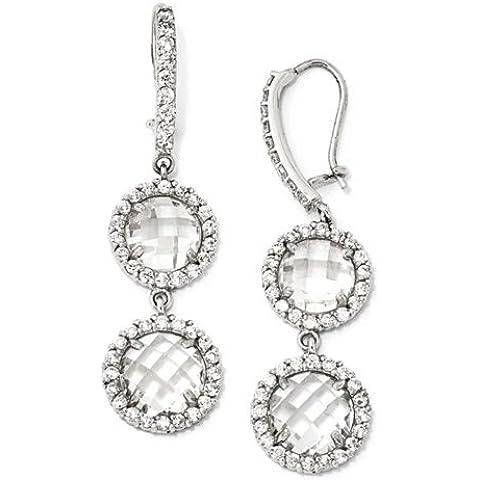 Icecarats Designer Di Gioielli Cheryl M Sterling Silver Checker-Cut Cz 2-Pietra Orecchini Filo Di Rene